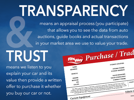 Transparency means an appraisal process (you participate) that allows you to see the data from auto auctions, guide books and actual transactions in your market area we use to value your trade. Trust means we listen to you explain your car and its value then provide a written offer to purchase it whether you buy our car or not.